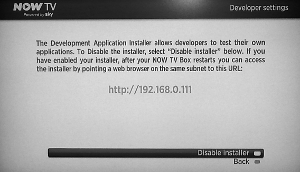 Screenshot of Now TV Development Application Installer